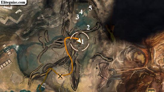 mapa de artefactos en el pantano