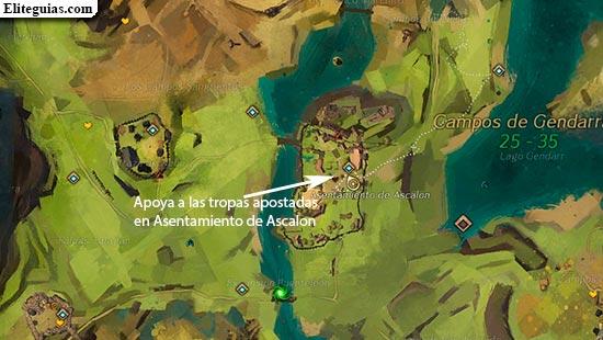Apoya a las tropas apostadas en Asentamiento de Ascalon
