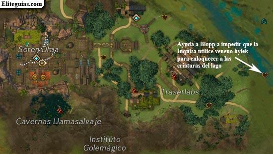 Ayuda a Blopp a impedir que la Inquisa utilice veneno hylek para enloquecer a las criaturas del lago