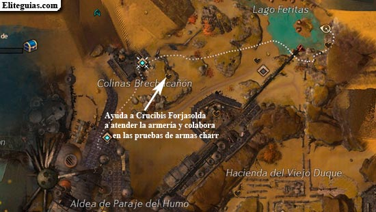 Ayuda a Crucibis Forjasolda a atender la armeria y colabora en las pruebas de armas charr