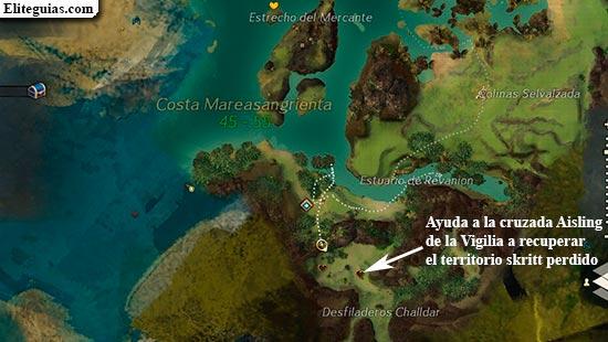 Ayuda a la cruzada Aisling de la Vigilia a recuperar el territorio skritt perdido