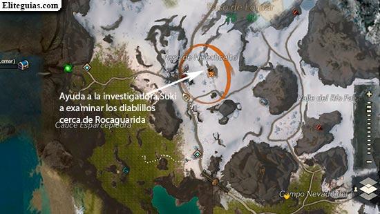 Ayuda a la investigadora Suki a examinar los diablillos cerca de Rocaguarida