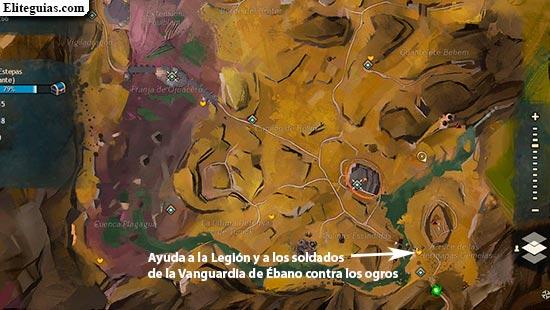 Ayuda a la Legión y a los soldados de la Vanguardia de Ébano contra los ogros