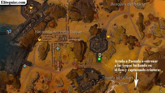 Ayuda a Paenula a entrenar a las tropas luchando en el foso y capturando criaturas