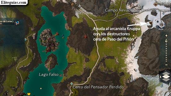 Ayuda al arcanista Kruppa con los destructores cerca de Paso del Piñón